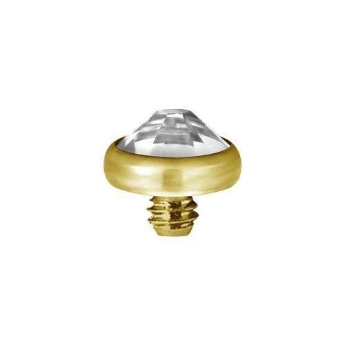 Gold Titanium Internal Attachment for Dermal Skin Diver with Gem